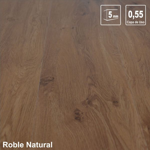 TARIMA VINILICA 5.0mm ROBLE NATURAL AC-6 1220x180x5 1,76m2/caja